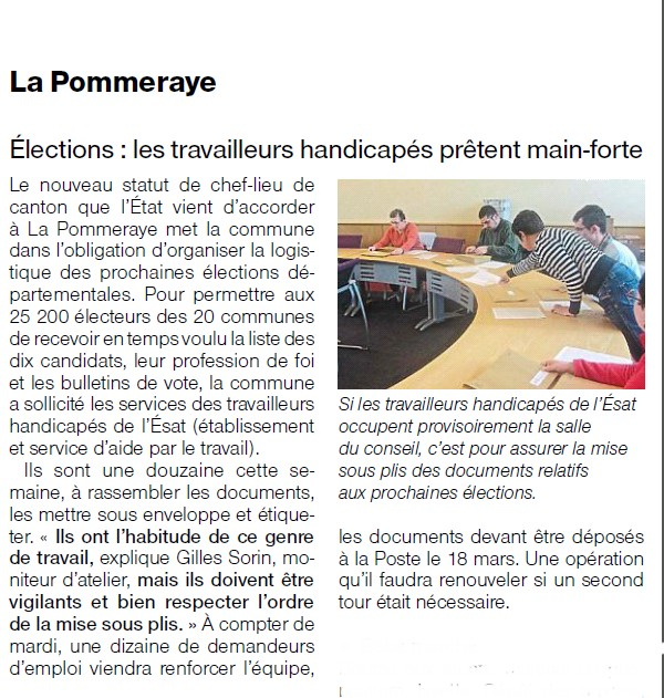 Article ouest france mars 2015