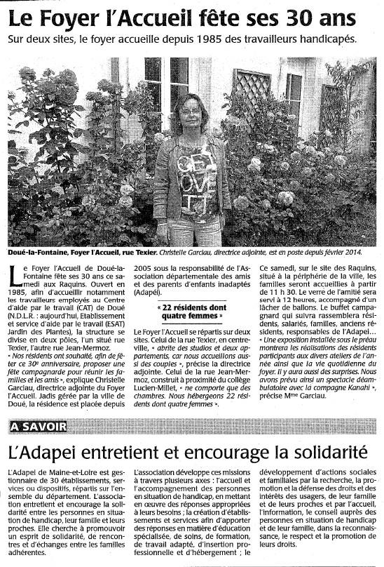 article courrier de l'ouest juin 2015