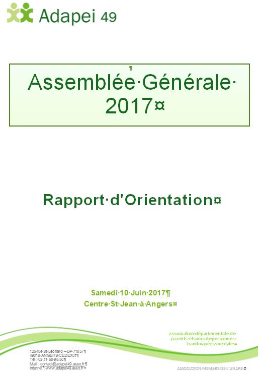 Rapport d'orientation