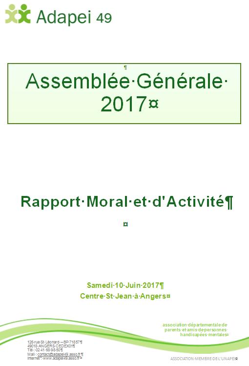 rapport d'actiité